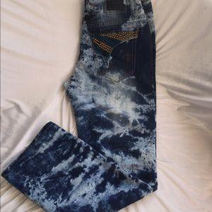 New Men's Robin Jeans iridescence Swarovski stones